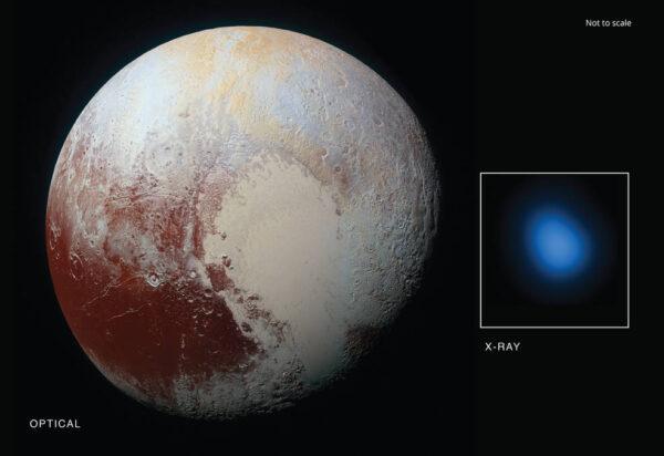 Pluto ve viditelném a rentgenovém spektru zdroj: nasa.gov