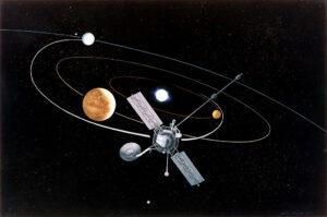 První sonda, která využila gravitační manévr při cestě k jiné planetě by Mariner 10, který se dostal k Merkuru díky průletu okolo Venuše (zdroj NASA).