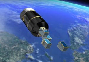 Vypouštění satelitů Terra Bella z posledního stupně rakety Vega