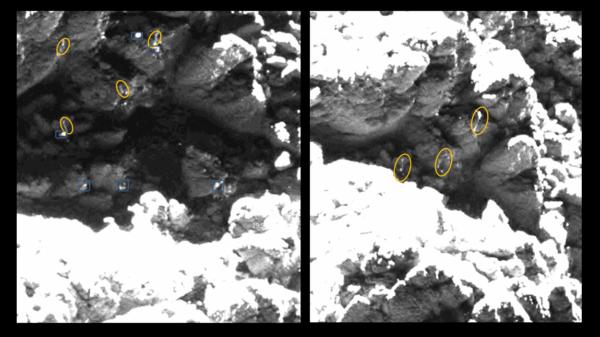 "Dva obrázky z 25. května 2016 s vyznačením stejných ""ledových"" struktur v okolí červeného kandidáta. Zdroj: obrázky: ESA/Rosetta/MPS for OSIRIS Team MPS/UPD/LAM/IAA/SSO/INTA/UPM/DASP/IDA; analýza: L. O'Rourke"