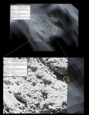 Porovnání snímku OSIRIS (popředí) proti 3D modelu v pozadí. Trojúhelníky pomáhají identifikovat viditelnost kandidáta. Takto byly plánovány snímky. Zdroj: ESA/Rosetta/SGS/R. Andres; Inset: ESA/Rosetta/MPS for OSIRIS Team MPS/UPD/LAM/IAA/SSO/INTA/UPM/DASP/IDA