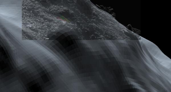 Snímek OSIRIS a 3D model skalnatého nosu kde vidíme rozdíly nejlépe. Zdroj: ESA/Rosetta/SGS/R. Andres; Inset: ESA/Rosetta/MPS for OSIRIS Team MPS/UPD/LAM/IAA/SSO/INTA/UPM/DASP/IDA