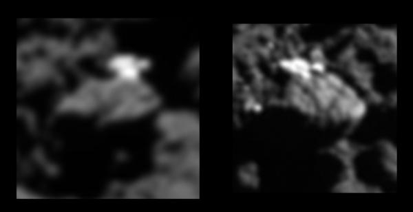 Modrý kandidát byl vyřazen díky tomuto snímku z 21. července 2016, kde vidíme, že jde o kus ledu. Zdroj: obrázek: ESA/Rosetta/MPS for OSIRIS Team MPS/UPD/LAM/IAA/SSO/INTA/UPM/DASP/IDA; analýza: L. O'Rourke