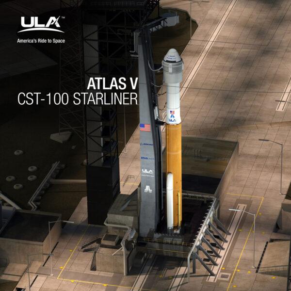 Zřejmě finální verze podoby sestavy rakety Atlas V a lodi Starliner - povšimněte si válcové sekce mezi raketou a lodí.
