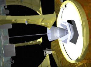 Systém připojení MEV k cílové družici - na vizualizaci je dobře vidět lano vedoucí k žihadlu, které se zatne do hlavního motoru družice.