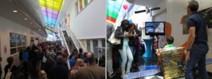 Chodba se stánky v době maximálního náporu návštěvníků a ukázka zábavy pro děti u stánku družice EDRS, kde děti fotily povrch Země a stahovaly snímky