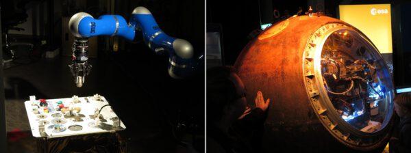 Robotická ruka ovládaná na dálku a letěný modul Foton