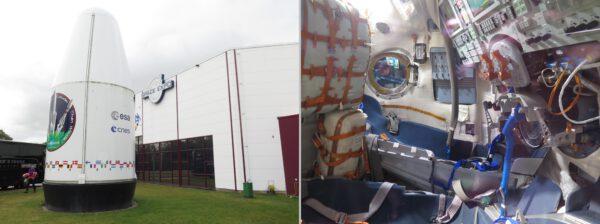 Budova SpaceExpo s modelem vršku rakety Ariane 4 a vnitřek kabiny Sojuzu