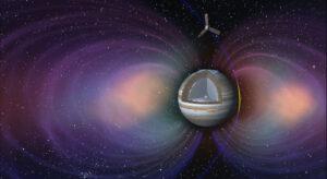 Dráha sondy Juno s vyznačením siločar magnetického pole planety