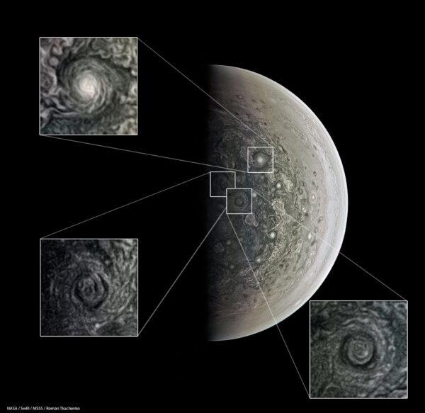 Víry u jižního pólu Jupitera pohledem kamery JunoCam
