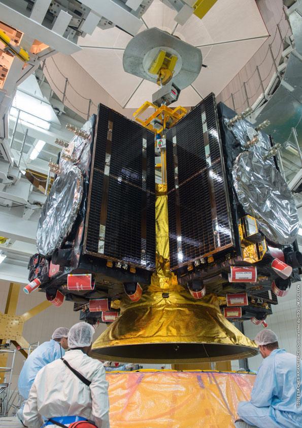 Čtyři družice Galileo na vypouštěcím adaptéru