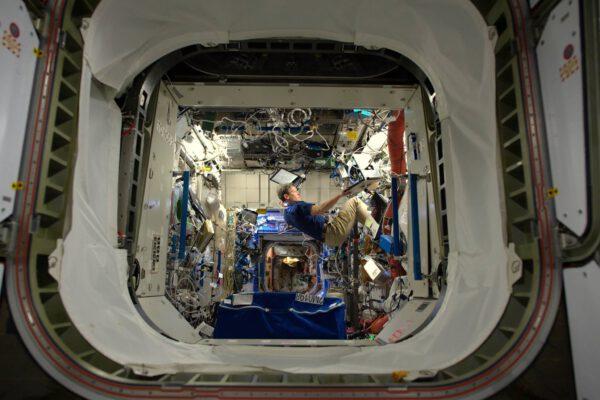 Mám pár experimentů, o které se musím během prvních dnů na ISS postarat, ale je to pro mne i příležitost vyfotit náš nový domov a mé kolegy v akci. Oleg, Sergej a Andrej zatím na fotkách chybí, ale nebude tomu tak dlouho. Peggy pracuje v americkém modulu Destiny. Je to biochemička a zkušená astronautka, které má na svém kontě dvojicí kosmických misí. Na ISS se cítí jako doma.