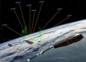 Signály z družic GPS (žluté čáry) mohou být přerušeny, pokud družice na nízké oběžné dráze vletí do rovníkové plasmatické nepravidelnosti. Zelená čára je graf profilu elektronové hustoty, kterou naměřila sonda Swarm během této anomálie.