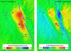 Výsledky porovnání snímků v okolí Accumoli před zemětřesením, které tuto lokalitu zasáhlo 26. srpna a po něm. Vertikální pohyb terénu dosahoval až 20 centimetrů a horizontální posun až 16 centimetrů.