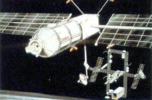 Takto měla vypadat volně létající laboratoř Columbus Man-Tended-Free Flyer (MTFF) v blízkosti stanice Dual Keel 1985-86