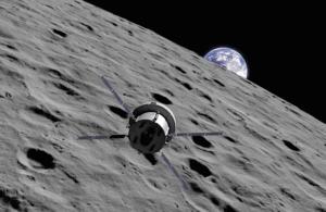 Orion na vizualizaci při misi EM-1