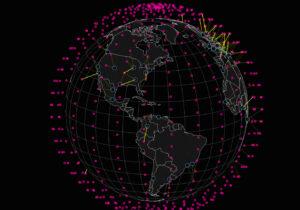 Vizualizace satelitní sítě SpaceX
