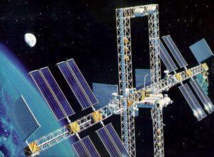 Umělecká představa orbitální stanice Dual Keel