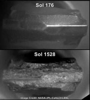 Změny na hrotu vrtáku na snímcích kamery ChemCam