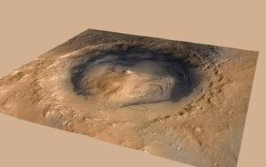 Kráter Gale s černě vyznačenou přistávací elipsou roveru Curiosity
