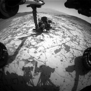 Vrták vozítka Curiosity v akci