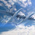 Umělecká představa letounu Stratolaunch se třemi raketami Pegasus