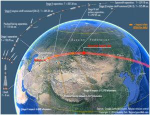 Infografika zobrazující dráhu letu i červeně vyznačující místo nehody.