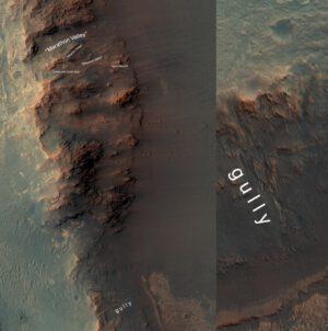 Pozice Opportunity a prastará erozní rýha. Zdroj: NASA/JPL-Caltech/Univ. of Arizona