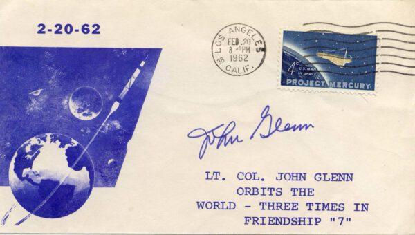 Obálka razítkovaná v Los Angeles 20. února 1962 a doplněná o amatérský přítisk.
