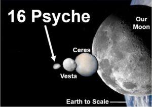 Porovnání velikosti asteroidu 16 Psyche s ostatními tělesy