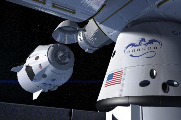 Umělecká představa dokování Crew Dragona k ISS