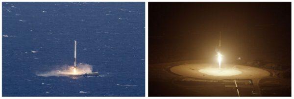 Přistání prvního stupně F9R na mořskou plošinu ASDS a na pevninskou přistávací zónu LZ-1.