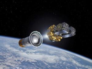 Vizualizace oddělení horního stupně Fregat od rakety Sojuz při vynášení dvou družic Galileo