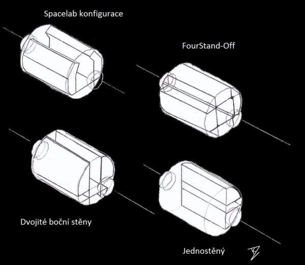 Některé návrhy rozložení interierů obyvatelných modulů