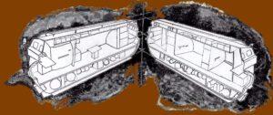 Řez návrhem obyvatelného modulu tunelové konstrukce