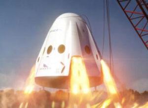 Vizualizace zážehu motorů SuperDraco na lodi Dragon 2