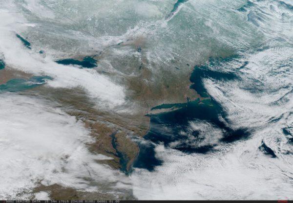 Severovýchodní pobřeží USA na snímku z 15. ledna