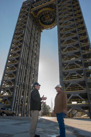 Testovací stanoviště 4693 na Marshallově středisku, kde proběhnou strukturální zkoušky nádrží na kapalný vodík.