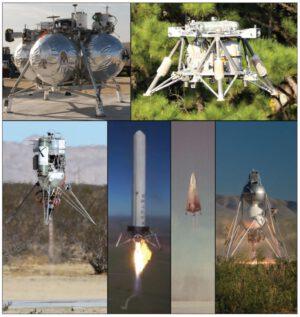 Různé typy experimentálních prostředků pro testy vertikálního startu a přistání.