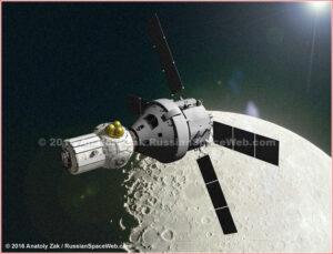 Orion s přechodovým modulem u Měsíce