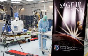 Příprava přístroje SAGE III ISS na Kennedyho středisku. Snímek vznikl 16. května 2016, když technici pracovali v čistém stanu uvnitř montážní haly. Speciální ochrana byla kvůli tomu, aby nedošlo ke kontaminaci citlivé palubní optiky. Tato místnost má úroveň čistoty 10K – jde o prostředí ve kterém je méně než deset tisíc částic menších, než půl mikrometru. Má tedy zhruba 150× čistší vzduch, než běžný obývací pokoj.