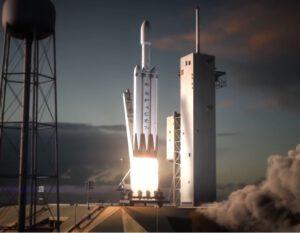 Vizualizace startu Falconu Heavy bez lodi Dragon