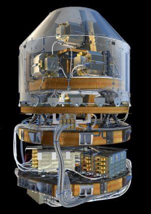Srdce celého satelitu - první vesmírný gradiometr.