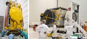 Příprava družic SKY Brasil 1 (vlevo) a Telkom-3S (vpravo)