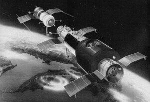 Okamžiky před spojením Sojuzu-11 a Saljutu 1 v představách výtvarníka (oproti skutečnosti je panel aparatury ONA na obrázku odhozen)
