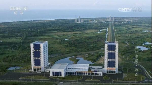 Montážní budovy a cesta pro vývoz na startovní rampu