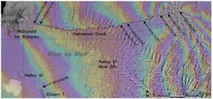 Interferogram z družic Sentinel 1A a Sentinel 1B zachycuje deformace Brunt Ice Shelf .