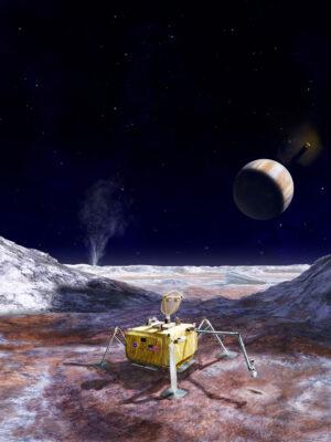 Umělecká představa landeru na Europě