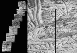Tato mozaika snímků obsahuje ty nejdetailnější snímky jupiterova měsíce Europa, které pořídila sonda Galileo. Snímek, který se nachází úplně nahoře, má nejvyšší dostupné rozlišení 6 metrů na obrazový bod. Dalších sedm snímků má rozlišení 12 metrů na obrazový bod. Dokud k Jupiteru nedorazí další sonda, nedočkáme se podrobnějších fotek.
