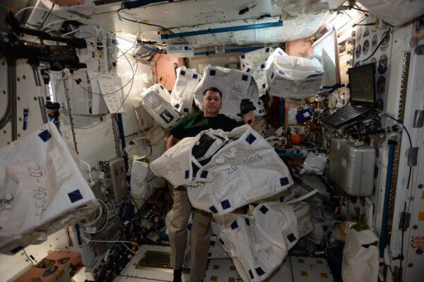 Ukázkový CTB souboj! Shane Kimbrough skenuje a třídí balíky Cargo Transfer Bag, které přivezl Dragon. Téměř všechno na ISS dorazí v CTB a také v nich odchází. Jsou odolné proti plamenům, mají různé velikosti a také nesou výrobní čísla, která pomáhají udržovat pořádek. Můžeme je naskenovat čtečkou čárových kódů jako v supermarketu. Můžete je opatřit nálepkami, můžete je zmáčknout, když jsou prázdné. Dokonce se staly oficiální jednotkou objemu. Když odhadujeme objem v racku, nebo v kosmické lodi, přepočítáváme jej na počet CTB. SpaceX nám jich přivezla opravdu hodně a všechny jsou plné nového vybavení, vzorků a zásob.